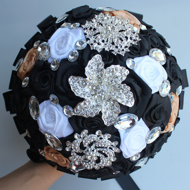 Black white satin artificial flower marriage wedding bouquet holding black white satin artificial flower marriage wedding bouquet holding flowers crystal brooch ramo de novia bouquet mightylinksfo