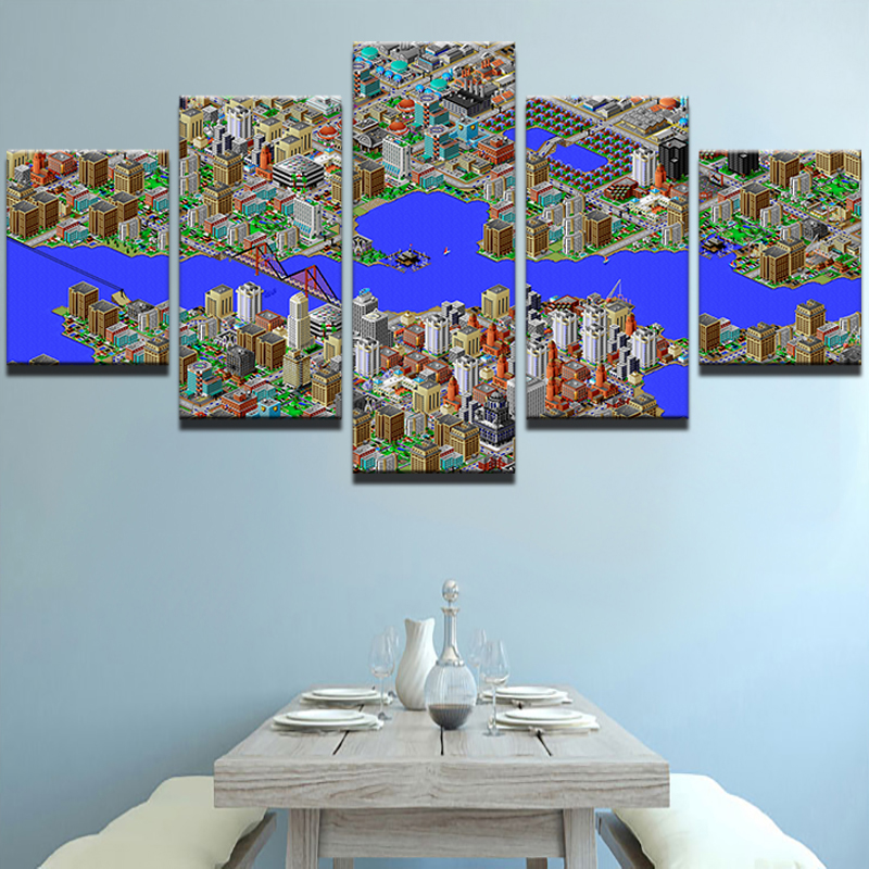 Home Decor Hd Printed Canvas Oil Painting Art Canvas 5 Panel Wall Pictures City Building Blueprint For Living Room Decor Pengda