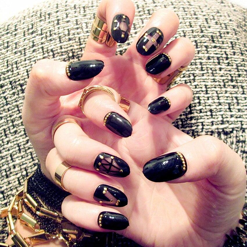 24Pcs Beauty black Fake Nails Full Cover European Simple Manicure ...