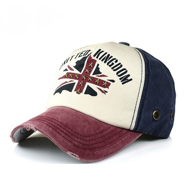 94fadb15449 Fashion Unisex Printing British Flag Baseball Cap Vintage Washed Trucker Hat  Rivet Snapback Caps Hip Hop Hats For Men And Women