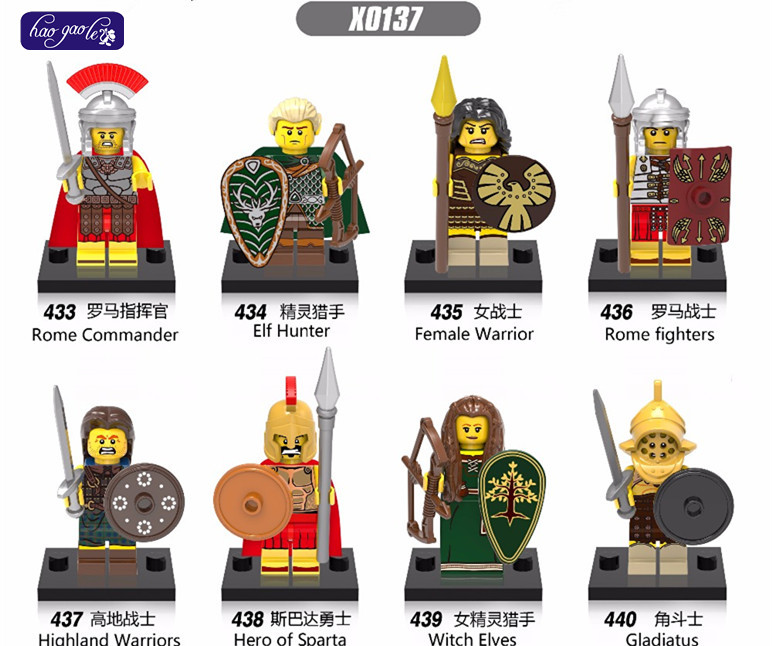 HAOGAOLE 80pc Gladiatus X0137 Medieval Knights Rome Commander Femal Warrior Highland Warrior Fighters Heros of Sparta