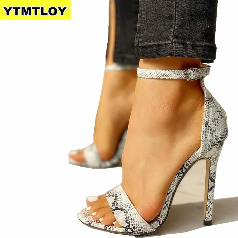2019 Snake Print Summer Luxury High Heels Women Pumps Comfort Party Female Peep Toe Gladiator Rome Leisure Shoes Sandals Sexy title=