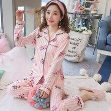 Пижама для беременных, Весенняя хлопковая одежда для кормления, с длинным рукавом, 2019