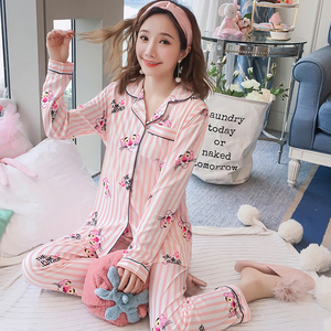 Image 1 - Maternity Pajamas 2019 new Spring Long Sleeve Breastfeeding Sleepwear Cotton Nursing Clothes For Pregnant Women Outerwear
