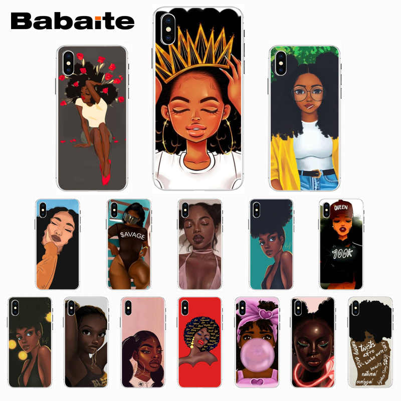 Babaite Queen Afro เมลานิน Poppin สีดำสาวสำหรับ iPhone X Xs Xr XsMax 7 7plus 8 8plus 6 6s 5 5S SE 11 11pro 11promax
