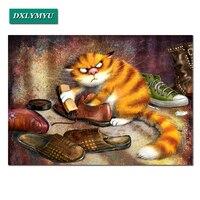 Robótki 5D Diy Umyć buty kot Diament Malowanie zwierząt Dimond Cross Stitch Pasted Malarstwo Pełne placu Musztry Dekoracji Domu