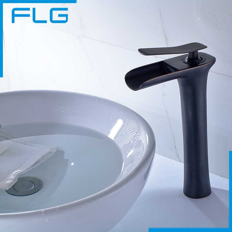 Classic Black Oil Rubbed Bronze Tall Waterfall Basin Faucet Bathroom Ware Black Bathroom Faucet Basin Tap