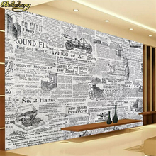beibehang Custom Photo Wallpaper Mural Vintage Black and White Newspaper TV Back