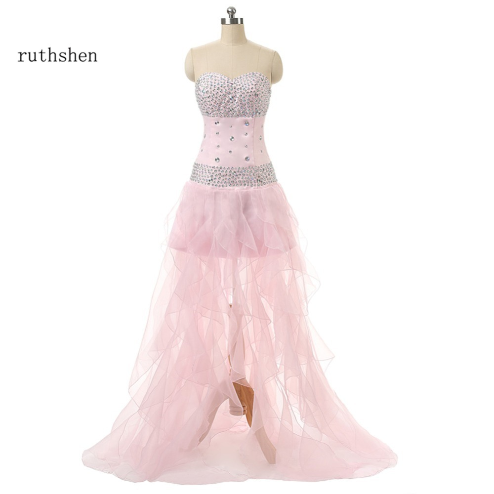 ruthshen Cheap Prom Dress Sweetheart Beaded Ruffles High Low Formal ...
