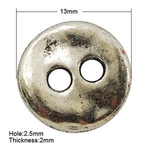 Бессвинцовые плоские круглые кнопки античного серебристого цвета в тибетском стиле, 13x2 мм, отверстие: 2,5 мм