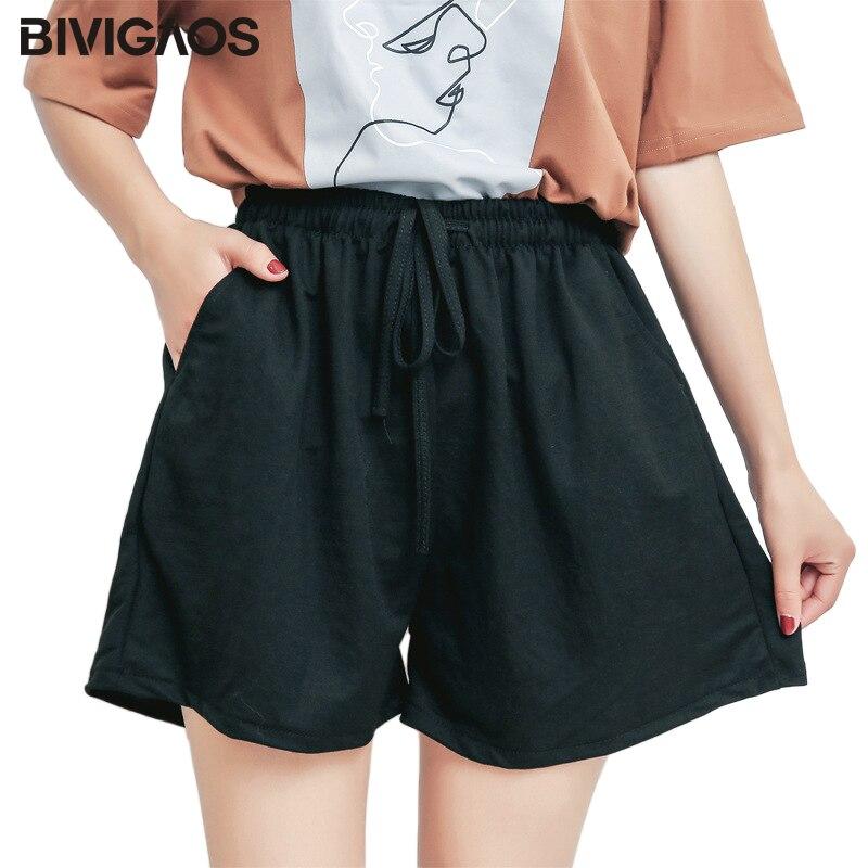 BIVIGAOS Women Summer Seaside Cotton Linen Drawstring Wide Leg Casual Skirt Shorts A-line High Waist Shorts Plus Size Culottes