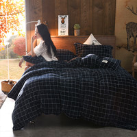 Optional Color 4 Pcs Sets (Duvet Cover + Bed Sheets + 2 Pillowcases)Classic Bedding Set Large King Queen Size Warm in Winter