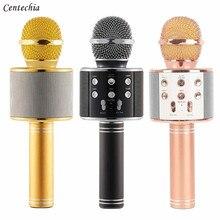 Золотая Роза черный Беспроводной Bluetooth караоке микрофон Беспроводной КТВ микрофон мини-Портативный микрофон Динамик открытый WS-858