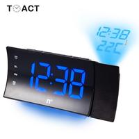 FM Radio LED Digital Electronic Clock Table Projector Alarm Clocks With Time Projection Desk Watch Of Bedroom Decor For Elder