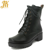 JK Winter Thick Heels Fur Women Boots Lace Up Pu Ladies Shoes Square Toe Footwear Military Boot Women Shoes 2018 Black Plus Size
