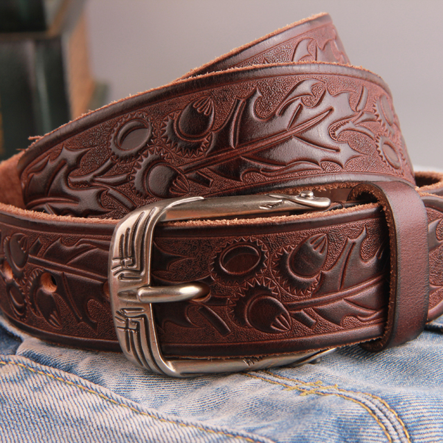Mens belts luxury genuine leather vintage carving west men