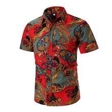 Linen Shirts Men Blouse Short sleeves Mens Dress Floral Casual Hawaiian Shirt Clothing Summer New
