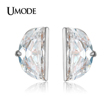 UMODE Women Fashion Jewelry Trendy Rhodium plated 10mm Diameter Half Round CZ Stud Earrings Pendientes Mujer AUE0193B