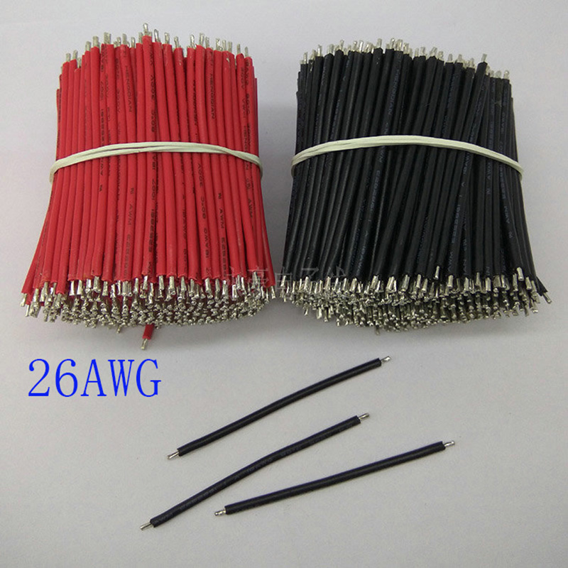 1000/PCS, 40mm electronic components, 80degree 26AWG black and red tin electronic cable, DIY panel cable, free shipping
