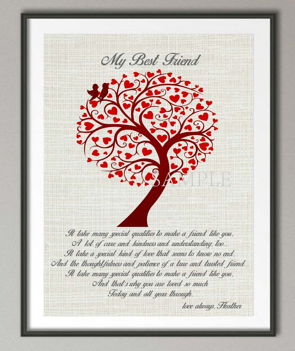 Personalized Gift For Friend Best Quote Poster Print Pictures Canvas Painting Family Tree Wall Decoration Wedding Gifts In Calligraphy
