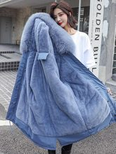 цена на Winter Women Hooded Coat Big Fur Collar Thick Warm Long Quilted Jacket  Parka Female Plus Size Outwear 2019