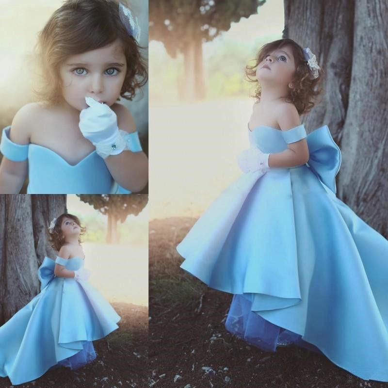 Pageant Kids Gown   Flower     Girl     Dresses   For Wedding Sky Blue Satin   Girl's   Floor Length Children Party Birthday   Dress