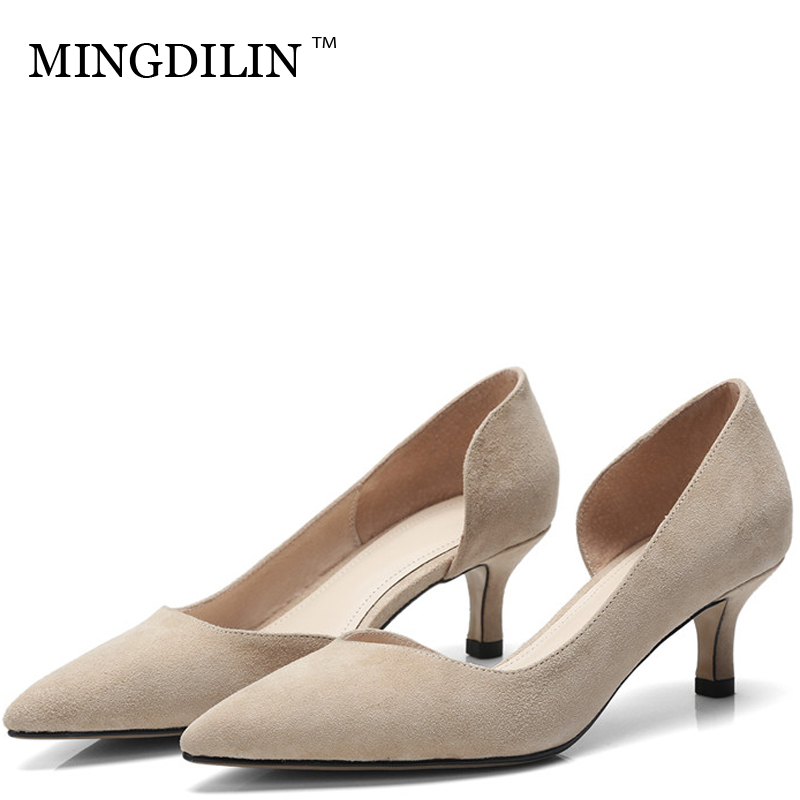 MINGDILIN Sexy Women's Low Heels Shoes Genuine Leather Woman Shoes Plus Size 43 Pointed Toe Shallow Wedding Party Pumps Stiletto cocoafoal woman green high heels shoes plus size 33 43 sexy stiletto red wedding shoes genuine leather pointed toe pumps 2018