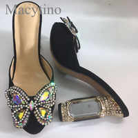 2019 High Heels Dress Slippers Beading Butterfly Decor Open Toe Slides Formal Mules Shoes Women