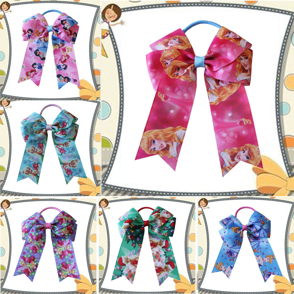 """100 BLESSING Good Girl Hair Accessories Long Tail 4.5/"""" Cheer Leader Bow Elastic"""