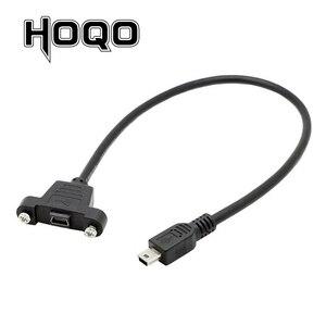 Image 1 - Panel Montieren Mini USB Scoket USB Mini B 5Pin Stecker Männlich zu Weiblich Verlängerung Kabel mit schraube terminal flush 30 cm 50 cm 1 ft