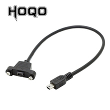 Panel Mount Mini USB Scoket Mini-B 5Pin Connector Male to Female Extension Cable with screw terminal flush 30cm 50cm 1 ft