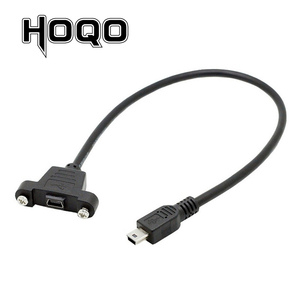 Image 1 - Panel Mount Mini USB Scoket USB Mini B 5Pin Connector Male to Female Extension Cable with screw terminal flush 30cm 50cm 1 ft