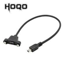 Panel Mount Mini USB Scoket USB Mini B 5Pin Connector Man vrouw Verlengkabel met schroef terminal flush 30 cm 50 cm 1 ft
