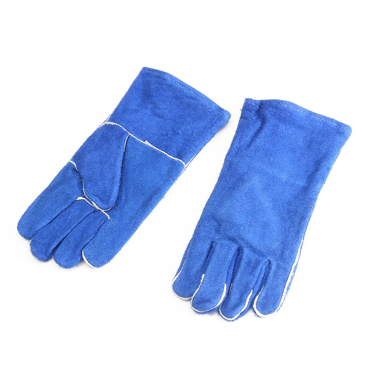 Gauntlet cuff leather work gloves - Blue Woodburner Gloves Long Lined Welders Gauntlets Log Fire High Temp Stove Xl Workplace Safety Gloves