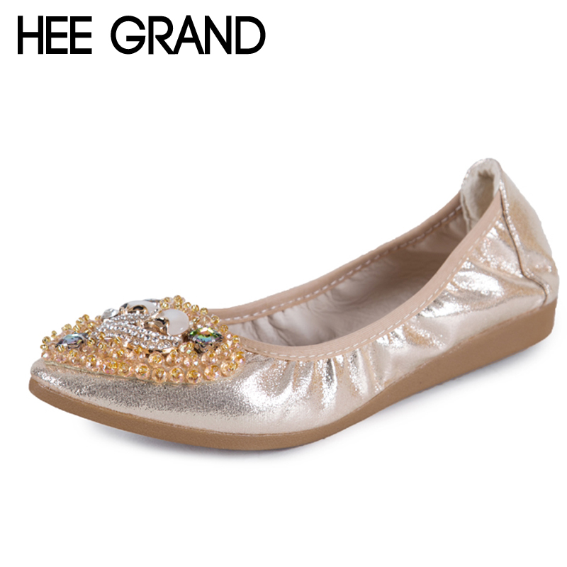 HEE GRAND Gold Silver Crystal Ballet Flats 2018 Casual Loafers Slip On Shoes Woman Shallow Summer Women Flat Shoes XWD6393 hee grand 2017 creepers summer platform gladiator sandals casual shoes woman slip on flats fashion silver women shoes xwz4074