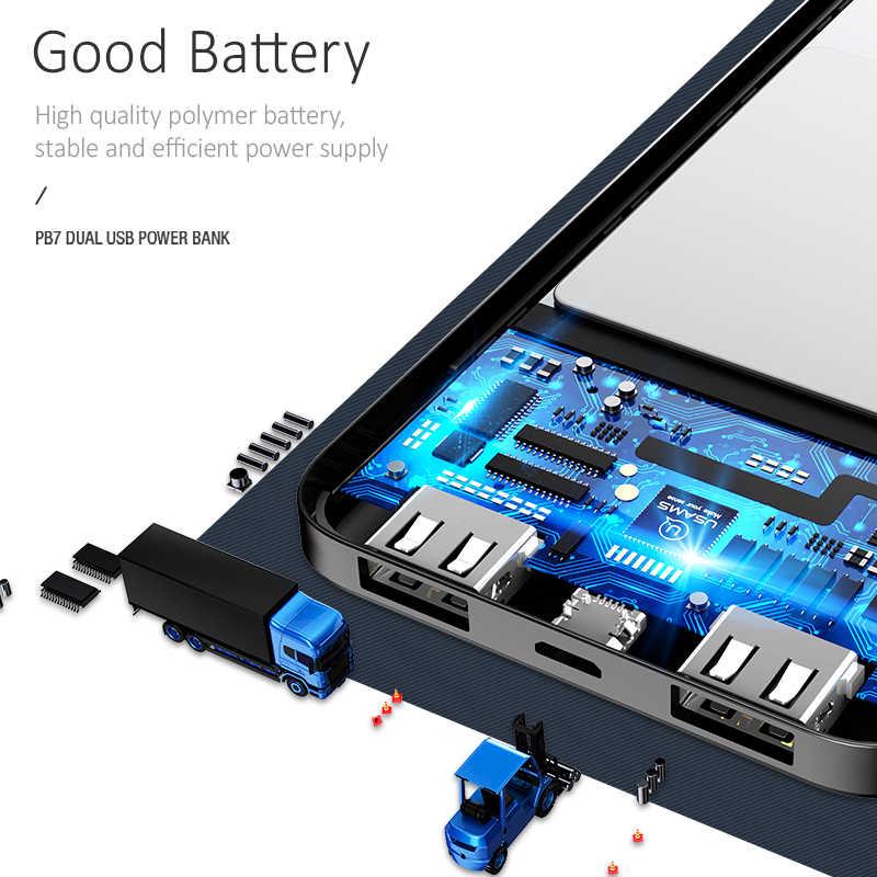 USAMS المحمولة 10000 مللي أمبير قوة البنك سليم بطارية خارجية 10000 مللي أمبير ل فون Xiaomi هواوي Oneplus المزدوج USB شاحن باوربانك