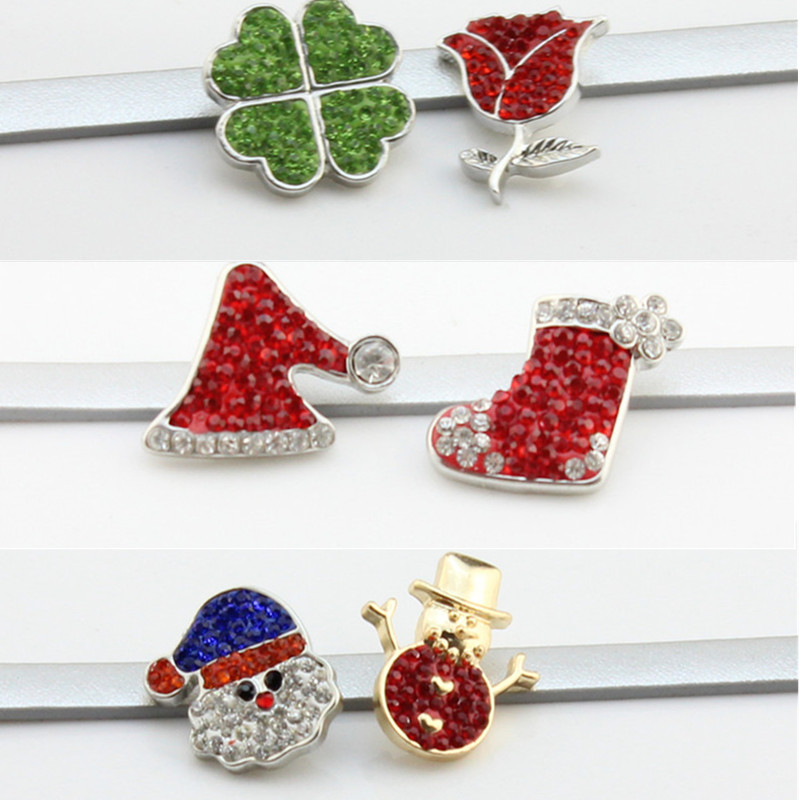 Christmas Hat Santa Claus Snowman Rose Flower Crystal 18mm Metal Snaps Buttons Charms Fit 18mm Snaps Bracelets Bangles