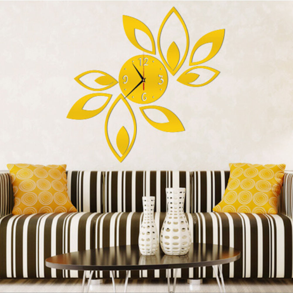 Big Flower Lotus DIY 3D Art Acrylic Mirror Wall Clock Wall Sticker ...