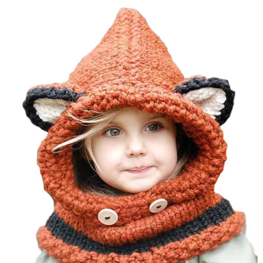 2016 Baby  Handmade Knitted Caps Cat Ear Fox Shaped Kids Bomber Beanie Shawl Winter Children Hats