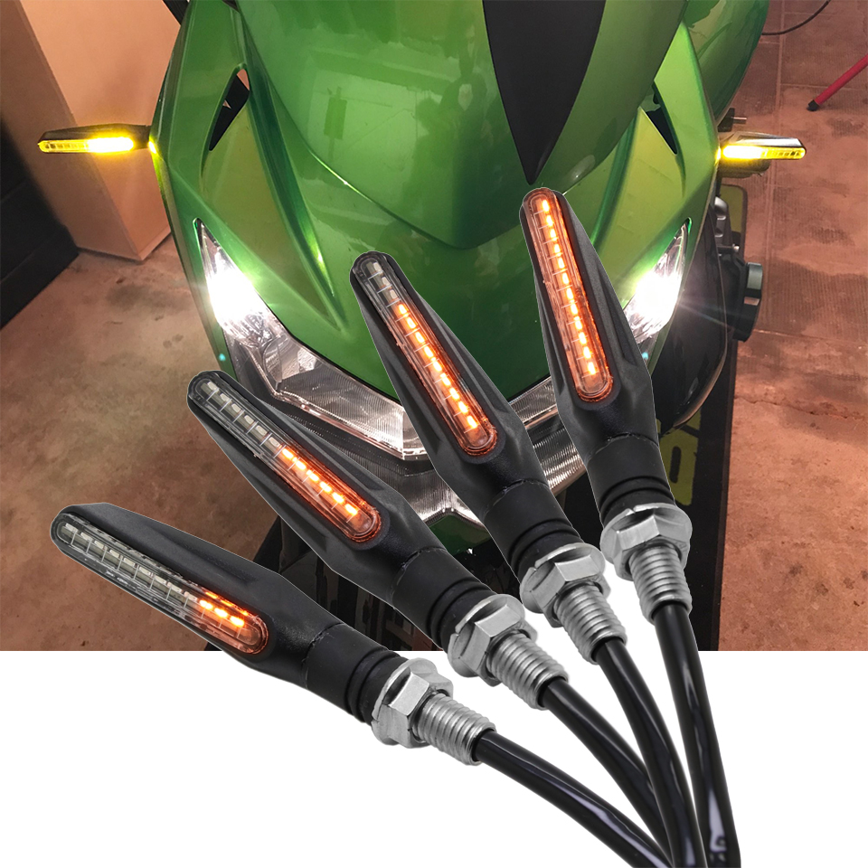 4X Motorrad Blinker Licht LED Flackern Motocross Fließende Wasser Blinker Flexible Biegsamen Schwanz Anzeige blinkleuchte
