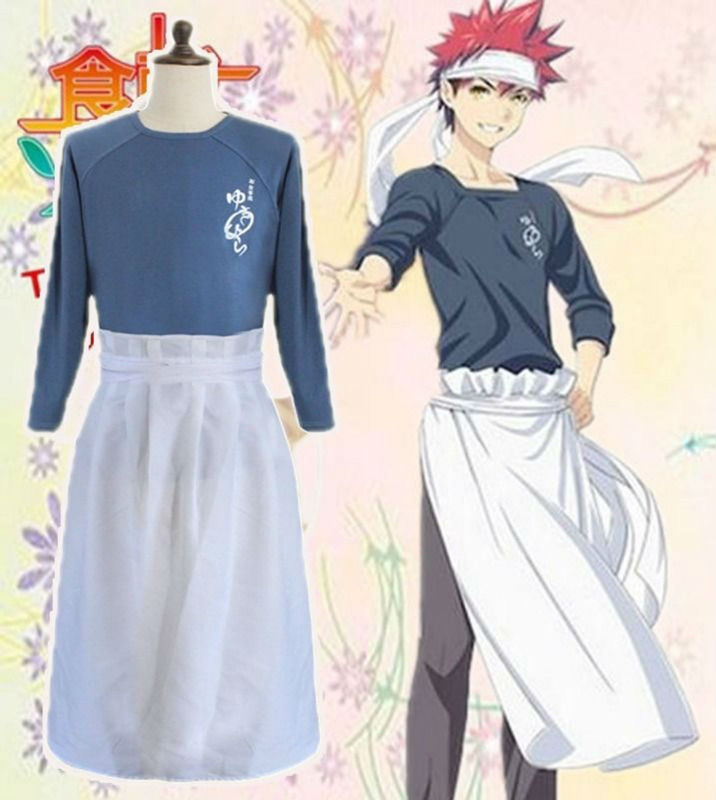 Shokugeki Нет Сома Yukihira Souma Косплэй костюм футболка + фартук + повязка на голову ...