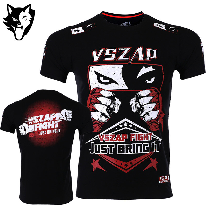 VSZAP Boxing Jerseys Fight MMA T-Shirt Gym Tee Shirt Boxing Fitness Sport Muay Thai Sanda Cotton Comfortable T Shirt Men