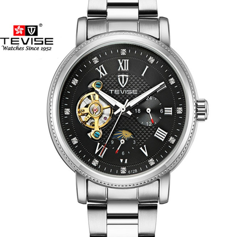 Men Watch Brand TEVISE Automatic Mechanical Watches Tourbillon Moon Phase Watch Calendar Waterproof Clock Relogio Masculino relogio masculino tevise luxury brand watch men tourbillon automatic mechanical watches moon phase skeleton wrist watch clock