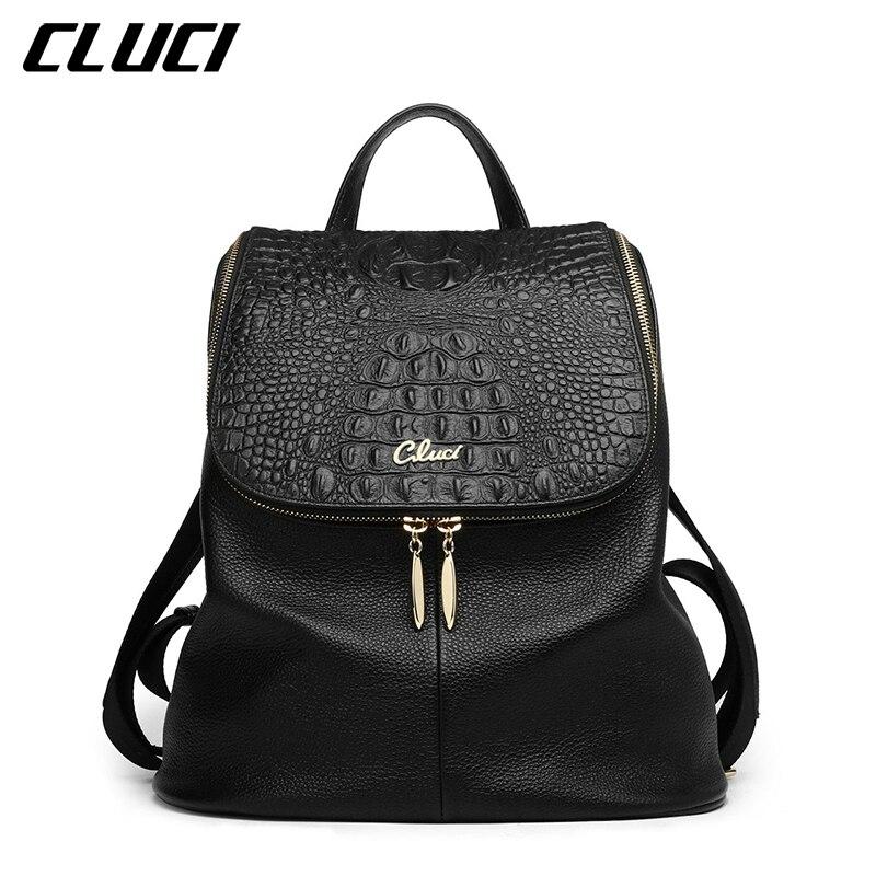 CLUCI Women's Backpacks Real Genuine Leather Fashion Black/Pink/Beige/Grey/Purple Alligator Pattern Casual Women's Daypacks Bags blanco elipso s ii grey beige