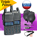 Par de walkie talkie de baofeng uv-82 8 w uv-82hx hermana de 2 vías de radio uv-b5 uv-5r px-2r uv 5 + doble ptt auricular + sp + cable + antena