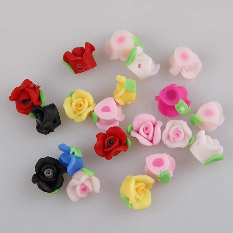 10 PCS/lot 10mm Kawaii Fimo Polimer Tanah Liat Rose Flower Chunky Pipih Beads Diy Perhiasan Temuan Rambut Headband Menghias