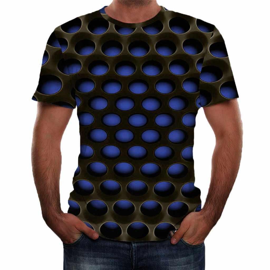 Verano para hombre nuevo estilo 3D impreso manga corta moda blusa cómoda Top 2019 algodón verano divertida marca impresa T camisa Tops Tee