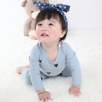 0-24 Months High Quality New Born Baby Girls Boy Romper Clothes Cute Heart Cotton Girls Long Sleeve Jumpsuit Pink Blue 2
