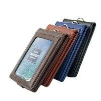 Nahoo Вертикальный стиль ID Подлинная кожаный бейджик бизнес держатели для карт имя тег шнурок для пропуска выдвижной шнур
