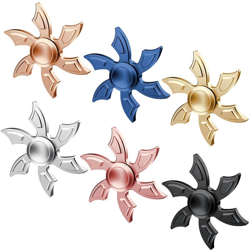 Six-Leaf Fidget Hand Spinning Toys Fingertips Fingers Gyro Reduce Stress Children Kids Funny Toys ...